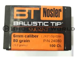 Nosler Ballistic Tip Varmint 6mm 80 grain (100 db)
